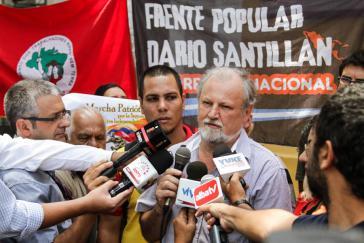 Joáo Pedro Stedile in Caracas. Er unterstützte den Kandidaten der Linken, Nicolás Maduro, bei den Präsidentschaftswahlen am 4. April 2013