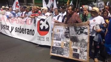 Demonstration gegen Straflosigkeit am Jahrestag des Tlatelolco-Massakers