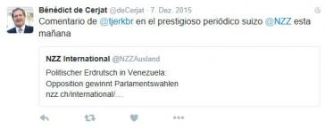 Tweet des Anstoßes? Diplomat de Cerjat verlinkte einen kritischen Artikel gegen Venezuelas Regierung
