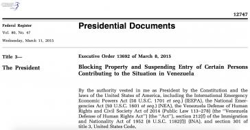 Obama-Dekret gegen Venezuela
