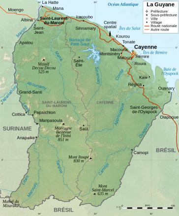 Lage von Französisch-Guyana an der Karibikküste von Südamerika