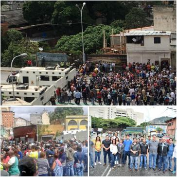 """Bilder vom Protest am Montag in Caracas, die Freddy Guevara auf Twitter verbreitet. Man sei """"bis auf einen Häuserblock an den TSJ und sechs Häuserblocks an Miraflores""""  ‒ den Präsidentenpalast  ‒ herangekommen und werde weiter vorrücken"""