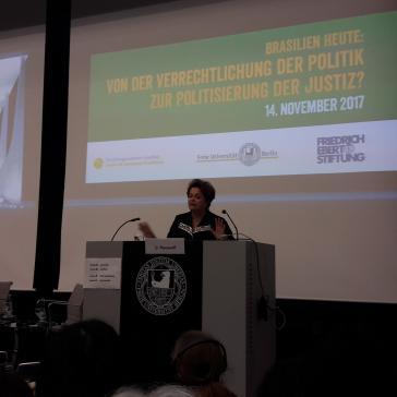 Dilma Rousseff, die gewählte Präsidentin von Brasilien, am Dienstag bei einer Veranstaltung in Berlin
