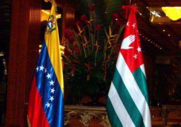 Fahnen von Venezuela und Abchasien