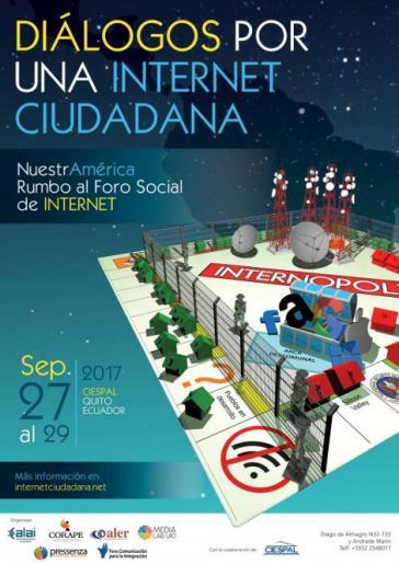 """Plakat: """"Dialoge für ein Internet der Bürger"""", vom 27. bis 29. September in Ecuador"""