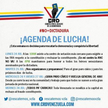 Aktionsplan des Oppositionsbündnisses MUD in Venezuela für kommende Woche
