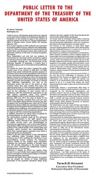 Der offene Brief von El Aissami erschien am Mittwoch in der New York Times