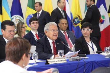 Gastgeber Sálvador Sánchez Ceren, Präsident El Salvadors, während des Gipfels vergangene Woche
