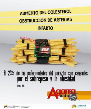 """Mit drastischen Bildern will die Regierung von Venezuela über die gesundheitlichen Gefahren aufklären: """"23 Prozent der Herzkrankheiten sind Folge von Übergewicht und Fettleibigkeit"""""""