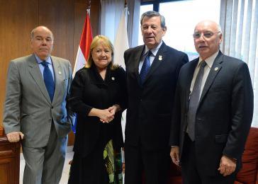 Gemeinsam gegen Venezuela und für Freihandel: Außenminister des Mercosur Mauro Vieira (Brasilien), Susana Malcorra (Argentinien), Rodolfo Nin Ńovoa (Uruguay) Eladio Loizaga (Paraguay) (von links nach rechts)