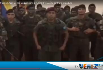 Juan Carlos Caguaripano: Ein ehemaliger Hauptmann des venezolanischen Militärs inszeniert sich mit uniformierten Zivilisten