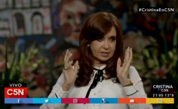 Argentiniens Ex-Präsidentin Cristina Fernández de Kirchner  im Interview mit dem TV-Sender C5N