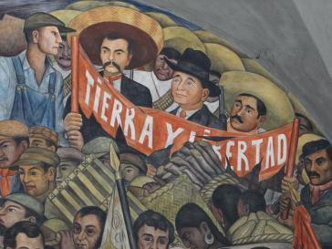 """""""Land und Freiheit"""" - Ausschnitt aus dem Wandbild  Diego Riveras zur Geschichte Mexikos im Regierungspalast in Mexiko-Stadt"""