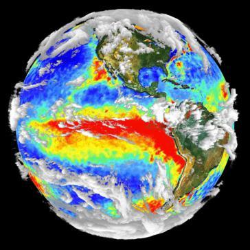3-D-Visualisierung des El Niño von 1997/98. Lateinamerika ist von diesem mit dem Klimawandel einhergehenden Phänomen stark betroffen