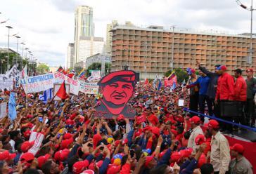Venezuelas Präsident Nicolás Maduro auf der Großkundgebung am 1. Mai in Caracas
