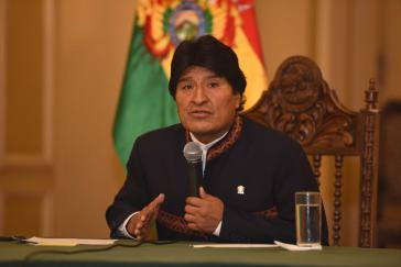 Boliviens Präsident Evo Morales bei der Pressekonferenz am Montag in La Paz