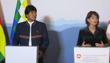 Evo Morales (links) am Donnerstag mit der Schweizer Bundespräsidentin Doris Leuthard