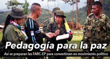 """Farc-Mitglieder bei der """"Friedenspädagogik"""" –Bild von der Seite der Rebellenorganisation"""