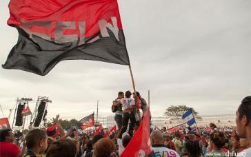 Bei den Feierlichkeiten in Nicaraguas Hauptstadt Managua am 19. Juli 2017 zum Jahrestag des Sieges über die Diktatur unter Anastasio Somoza im Jahr 1979