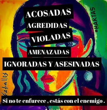 """Plakat gegen Frauenmorde der Gruppe """"Ni una menos"""": """"Angefeindet, angegriffen, vergewaltigt, bedroht, ignoriert und ermordet. Wenn es dich nicht wütend macht, gehörst du zum Feind"""""""