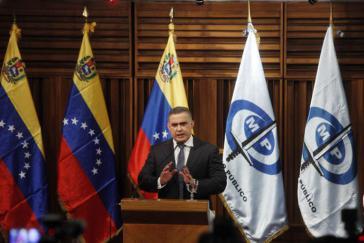 Der Generalstaatsanwalt von Venezuela, Tarek William Saab, bei der Pressekonferenz am Donnerstag