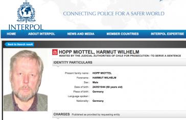 Ehemaliges Fahndungsblatt für Hartmut Hopp bei Interpol