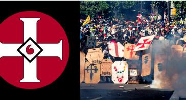 Symbole gewalttätiger Proteste in Venezuela gegen die Regierung Maduro