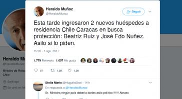 """Tweed von Chiles Außenminister: """"Heute Nachmittag kamen zwei weitere Gäste in die Botschaft von Chile in Caracas, um Schutz zu suchen. Asyl, wenn sie darum bitten."""""""