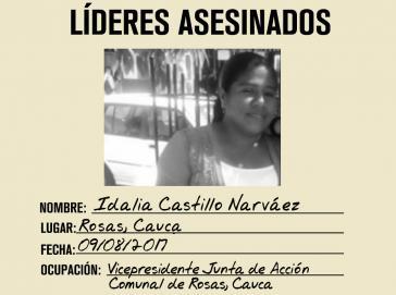 Wurde ermordet: IIdalia Castillo Narváez, Mitglied der Organisation für Opferbelange und Vorstand des Rates für gemeinschaftliche Aktionen des Dorfes Bella Vista im Verwaltungsbezirk Cauca, Kolumbien