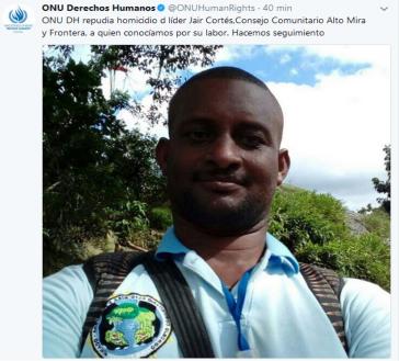 Die UNO postet kurz nach dem Mord an Cortés auf twitter dieses Bild des Ermordeten und kündigt an, den Fall zu beobachten