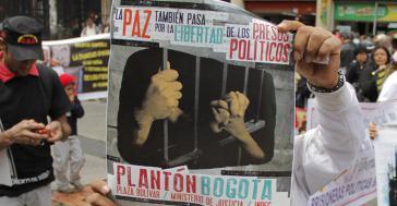 Solidaritätsaktion mit den politischen Gefangenen in Bogotá, Kolumbien