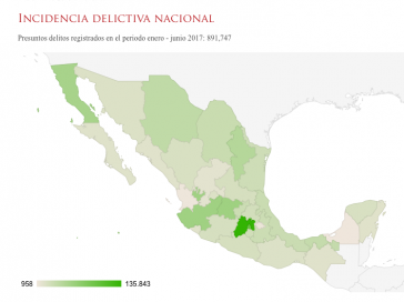 Karte mit statistischen Daten zur Gewalt in Mexiko