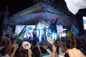 Guillermo Lasso und seine Frau bei einer Wahlveranstaltung in Manta, Provinz Manabí an der Pazifikküste Ecuadors. Manabí soll nach dem Willens Lassos zur Freihandelszone werden