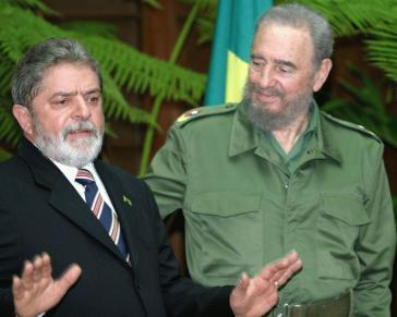 Brasiliens ehemaliges Staatsoberhaupt (links) mit dem verstorbenen kubanischen Revolutionsführer Fidel Castro