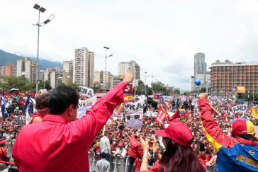 Venezuelas Präsident Maduro bei der abschließenden Kundgebung für die verfassunggebende Versammlung am Donnerstag in Caracas, Venezuela