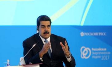 Der Präsident von Venezuela, Nicolás Maduro, während seiner Rede beim Energieforum in Moskau am 4. Oktober