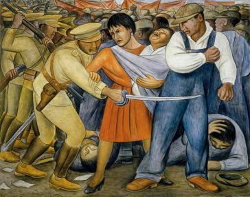 """Detail aus dem Wandgemälde """"El Levantamiento"""" (Der Aufstand) von Diego Rivera aus dem Jahr 1931: Die Armee wurde in Mexiko schon oft gegen soziale Kämpfe eingesetzt"""