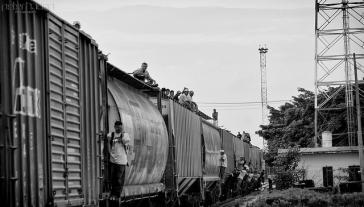 Migranten auf einem Zug, der durch Mexiko in Richtung USA fährt