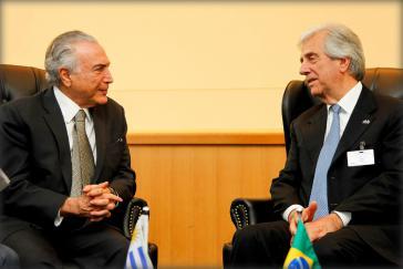 Uruguays Präsident Tabaré Vázquez ist sich in Sachen Freihandel einig mit Brasliens De-facto-Präsident Michel Temer ...