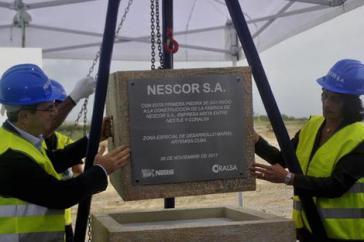 Grundsteinlegung für die Fabrik des Nestlé-Coralsa-Joint Ventures Nescor S.A. in der Sonderwirtschaftszone Mariel auf Kuba