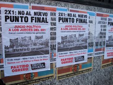 """Aufruf zum Protest am 10. Mai. Ein breites Bündnis mobilisierte gegen das """"Ley 2x1"""""""