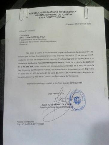 Harrington hinterließ die Mitteilung ihrer Ernennung durch den TSJ in Venezuela