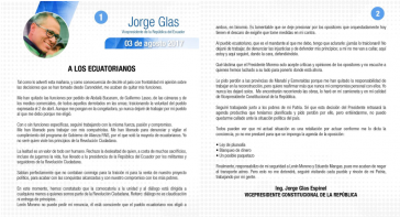 Offener Brief des Vizepräsidenten von Ecuador, Jorge Glas