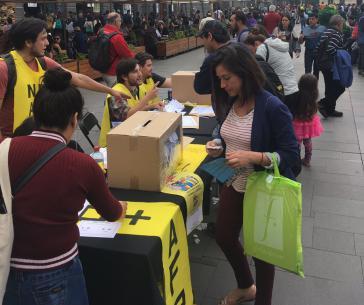 Einer der zahlreichen Straßenstände, an denen über das Rentensystem in Chile abgestimmt werden konnte