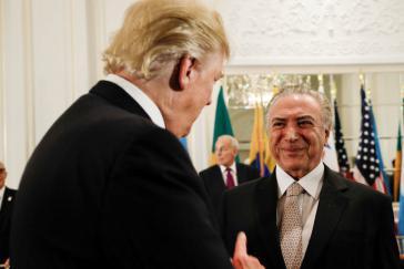 US-Präsident Trump begrüßt Brasiliens De-facto- Präsidenten Temer vor dem gemeinsamen Abendessen am 18. September in New York