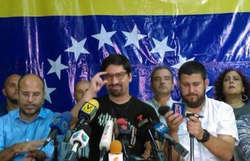 Unversöhnliche Signale: Pressekonferenz des MUD am Donnerstag. In der Mitte sein Sprecher Freddy Guevara von der Rechtspartei Voluntad Popular