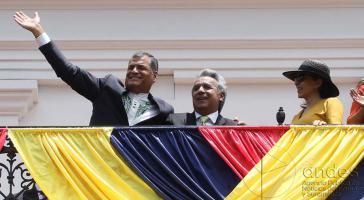 Rafael Correa und sein Nachfolger Lenín Moreno nach dessen Wahlsieg