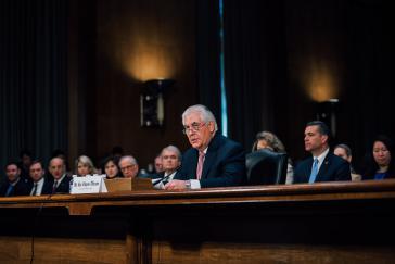 Tillerson bei seiner Anhörung vor dem auswärtigen Ausschuss des US-Senats