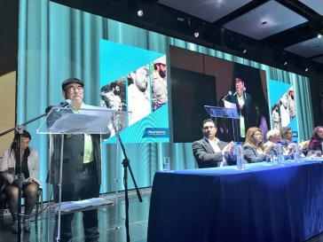 Der früherere Oberkommandierende der Farc, Rodrigo Londoño, bei seiner kurzen Ansprache zum Auftakt des Kongresses