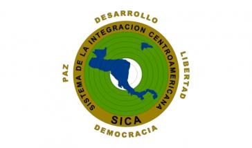 Logo des Zentralamerikanischen Integrationssystems (SICA), dem Belize, Costa Rica, El Salvador, Guatemala, Honduras, Nicaragua und Panama angehören